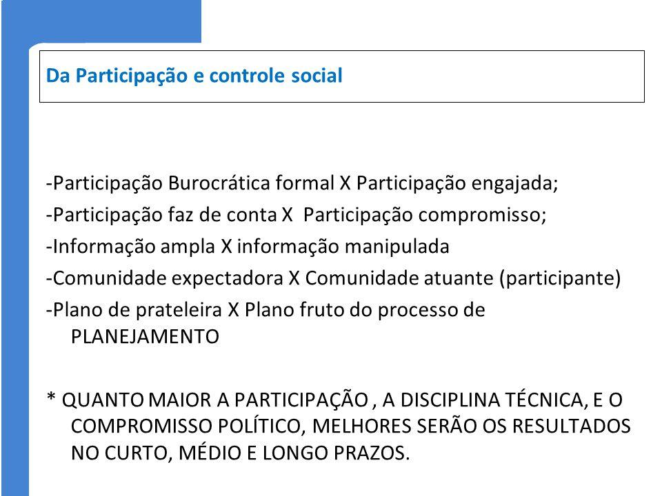 Da Participação e controle social
