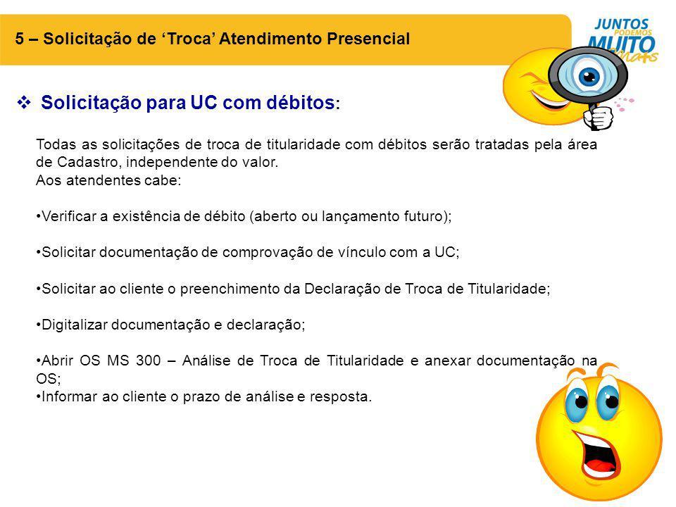 Solicitação para UC com débitos: