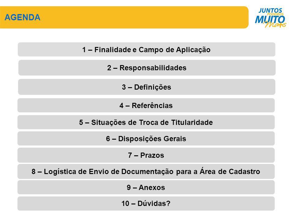 AGENDA 1 – Finalidade e Campo de Aplicação 2 – Responsabilidades