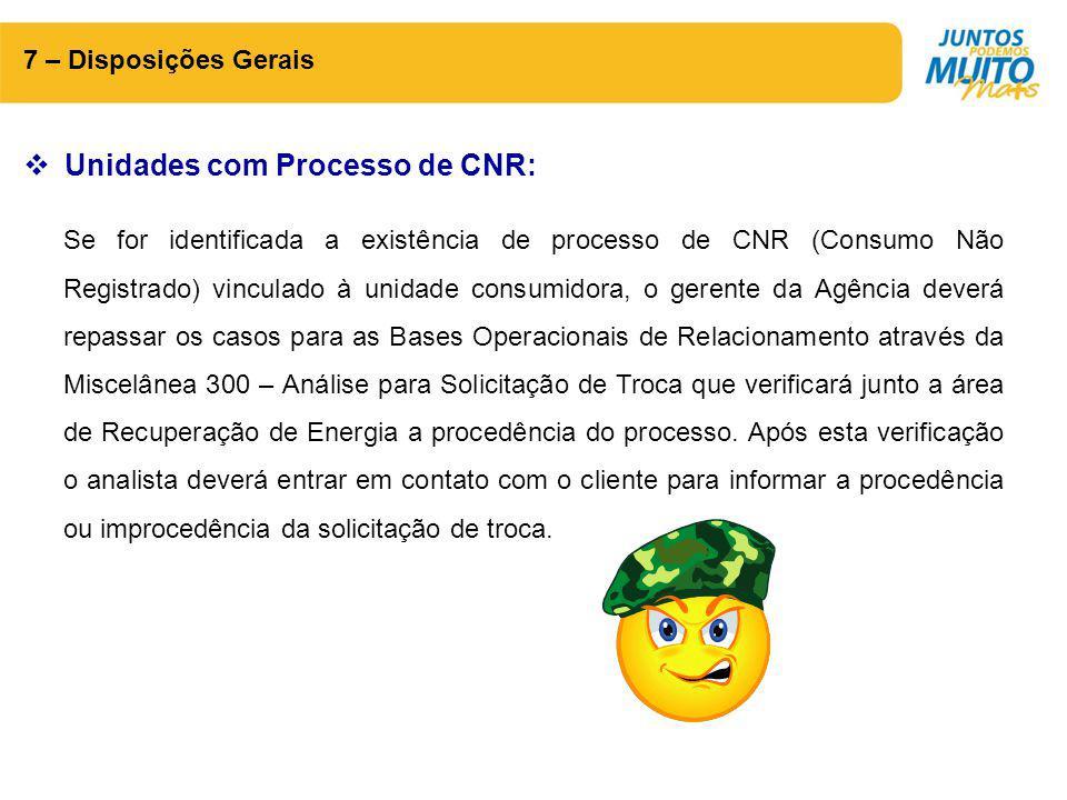 Unidades com Processo de CNR: