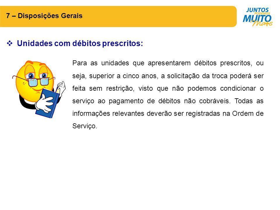 Unidades com débitos prescritos: