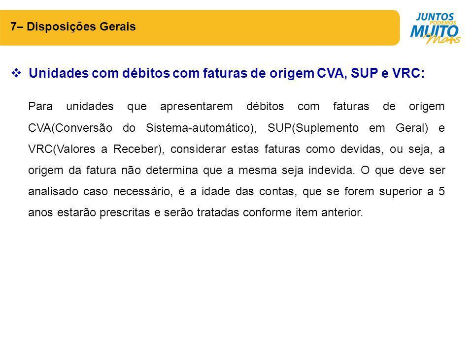 Unidades com débitos com faturas de origem CVA, SUP e VRC: