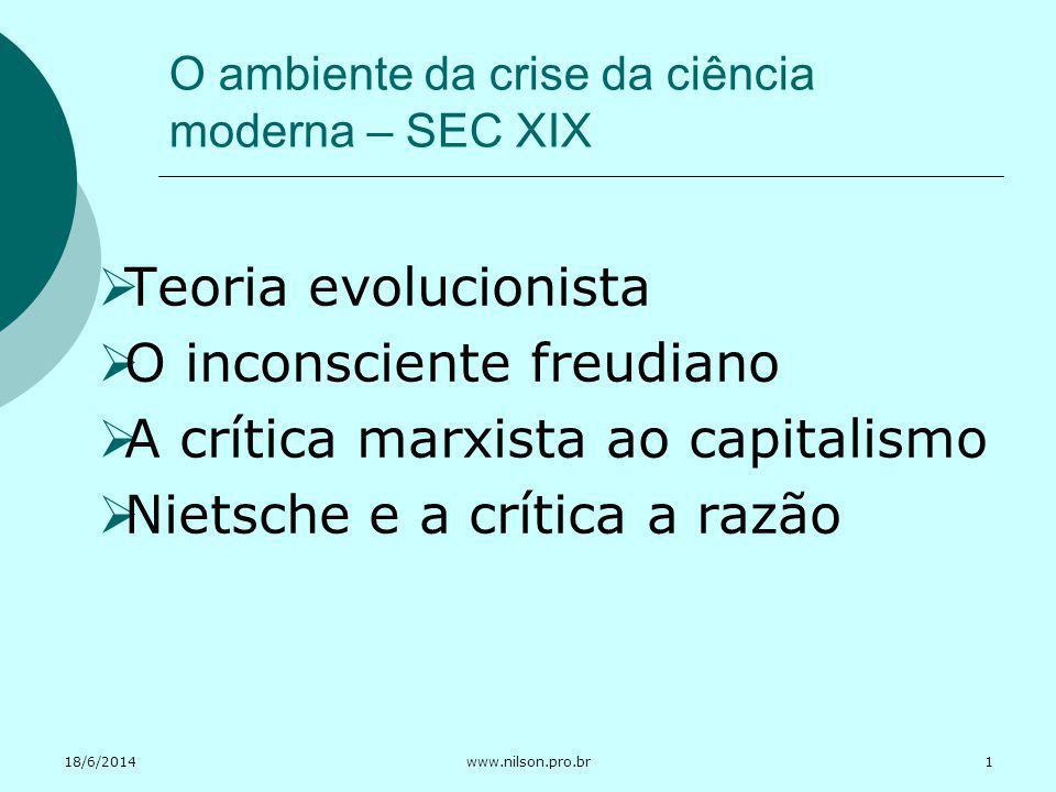 O ambiente da crise da ciência moderna – SEC XIX