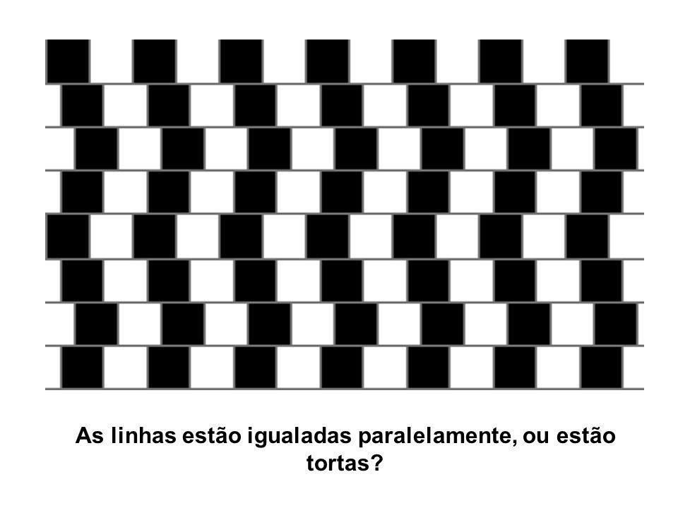 As linhas estão igualadas paralelamente, ou estão tortas