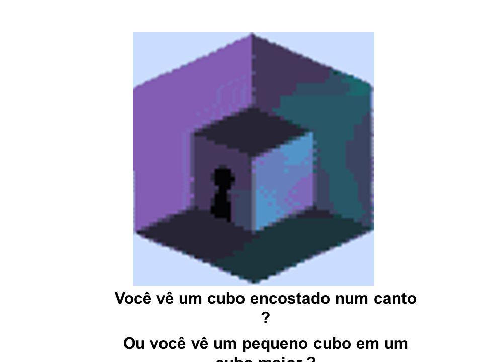 Você vê um cubo encostado num canto