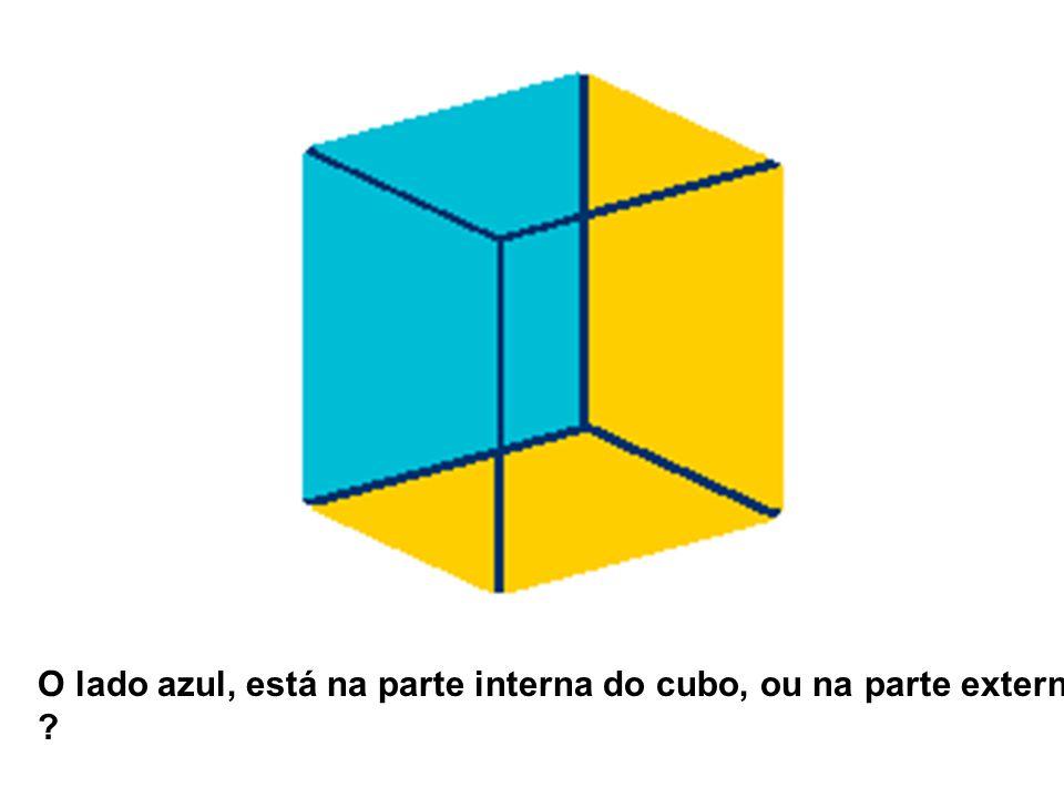 O lado azul, está na parte interna do cubo, ou na parte externa