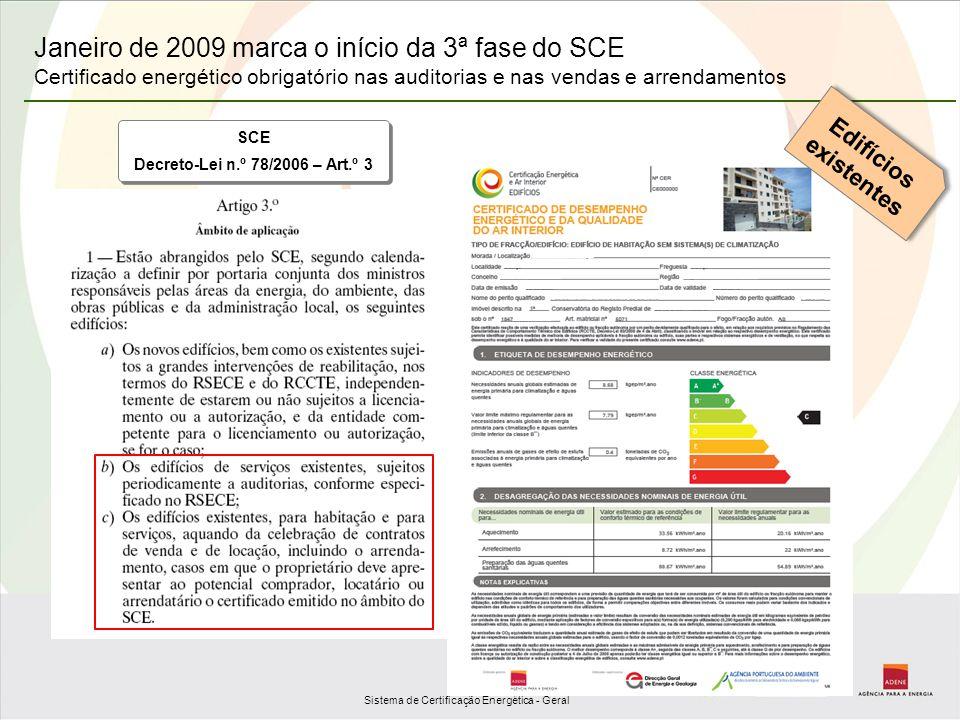 Janeiro de 2009 marca o início da 3ª fase do SCE Certificado energético obrigatório nas auditorias e nas vendas e arrendamentos