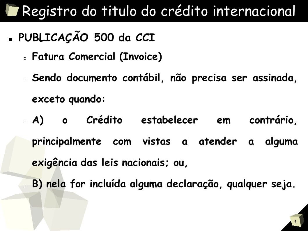 Registro do titulo do crédito internacional
