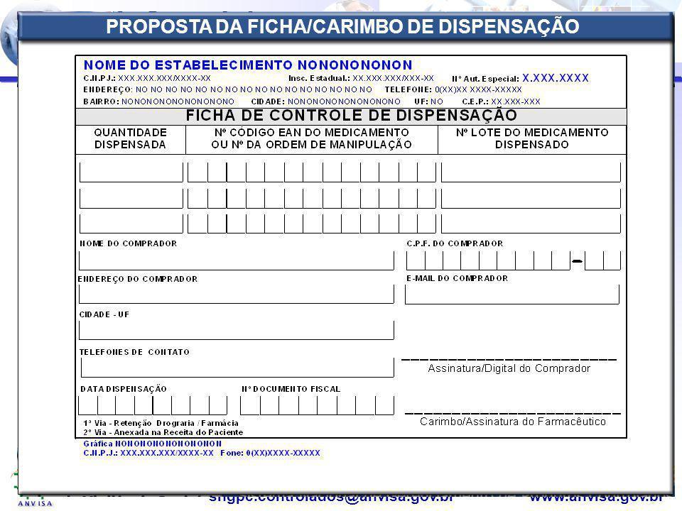 PROPOSTA DA FICHA/CARIMBO DE DISPENSAÇÃO