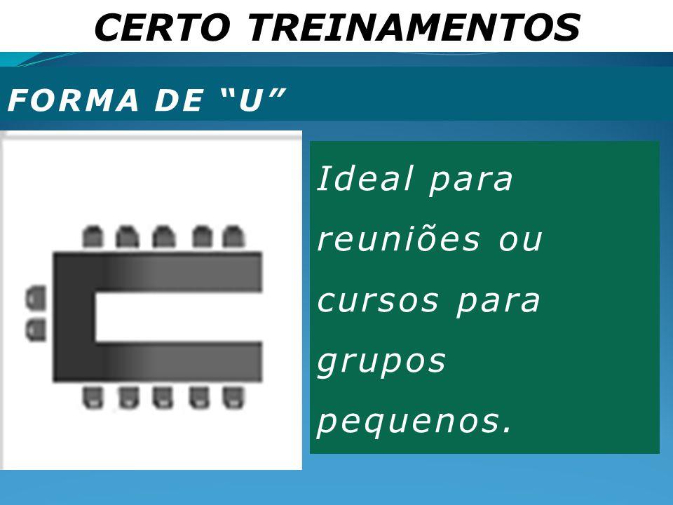 CERTO TREINAMENTOS Ideal para reuniões ou cursos para grupos pequenos.