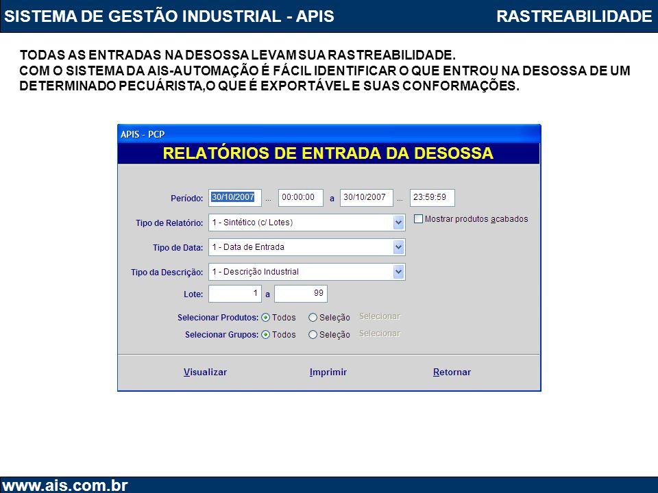 SISTEMA DE GESTÃO INDUSTRIAL - APIS RASTREABILIDADE