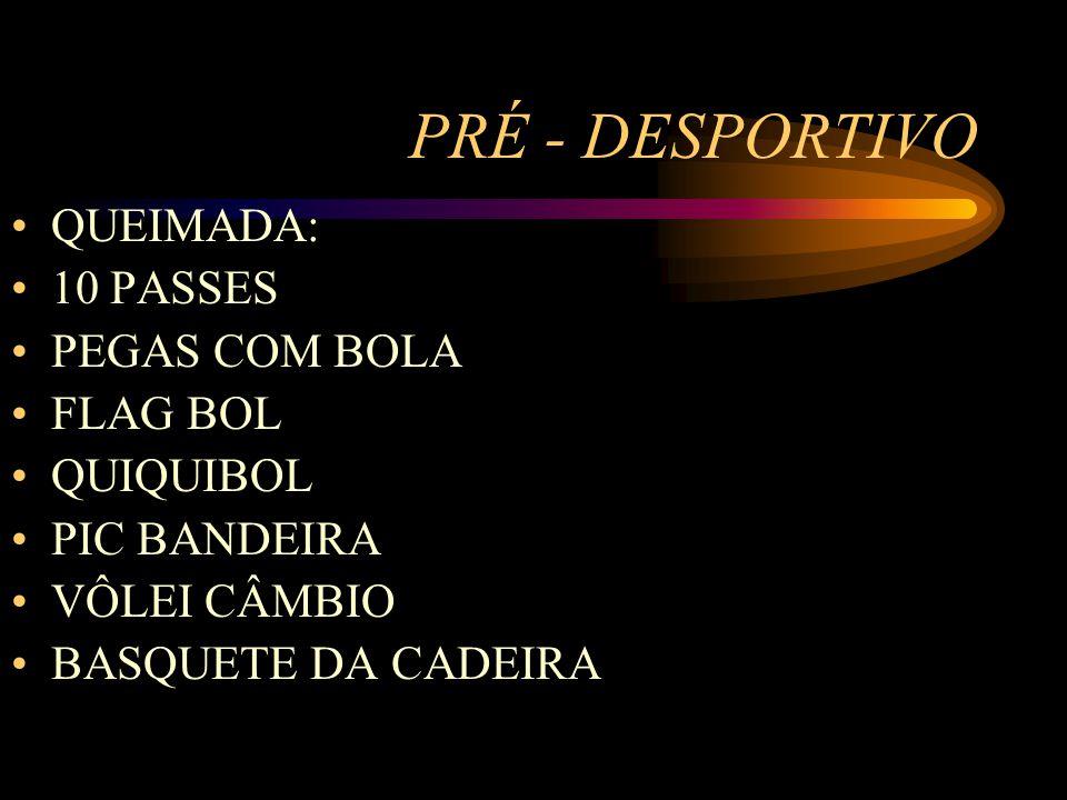 PRÉ - DESPORTIVO QUEIMADA: 10 PASSES PEGAS COM BOLA FLAG BOL QUIQUIBOL