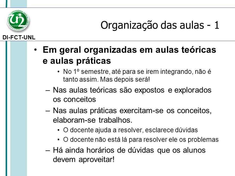 Organização das aulas - 1