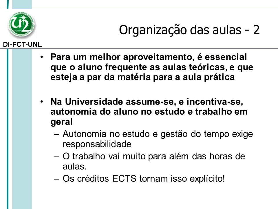Organização das aulas - 2