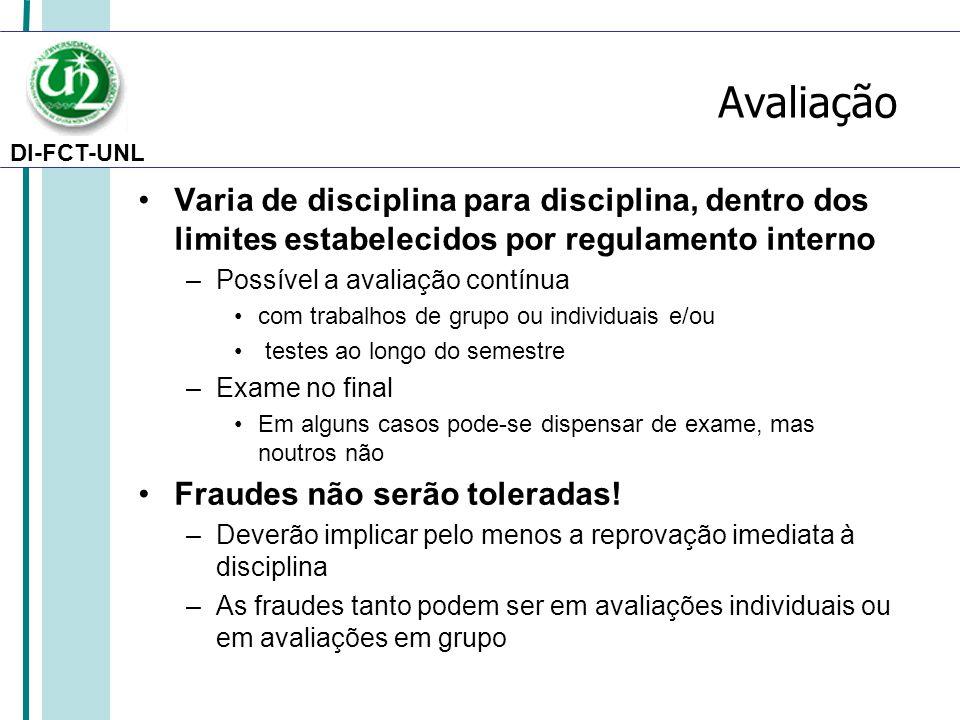 Avaliação Varia de disciplina para disciplina, dentro dos limites estabelecidos por regulamento interno.