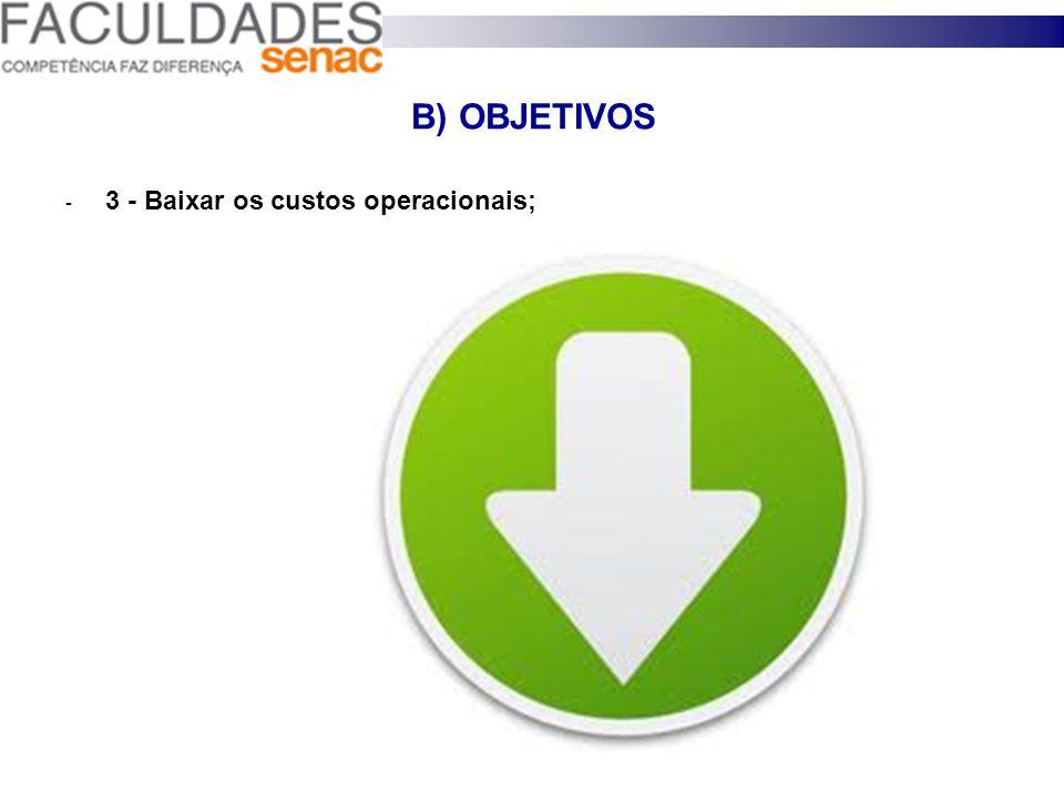 B) OBJETIVOS 3 - Baixar os custos operacionais; 28