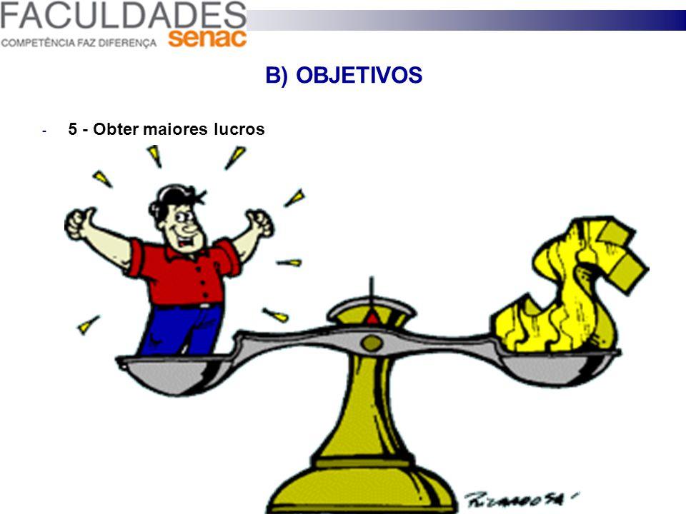 B) OBJETIVOS 5 - Obter maiores lucros 30