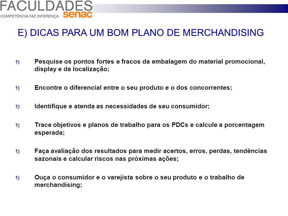 E) DICAS PARA UM BOM PLANO DE MERCHANDISING