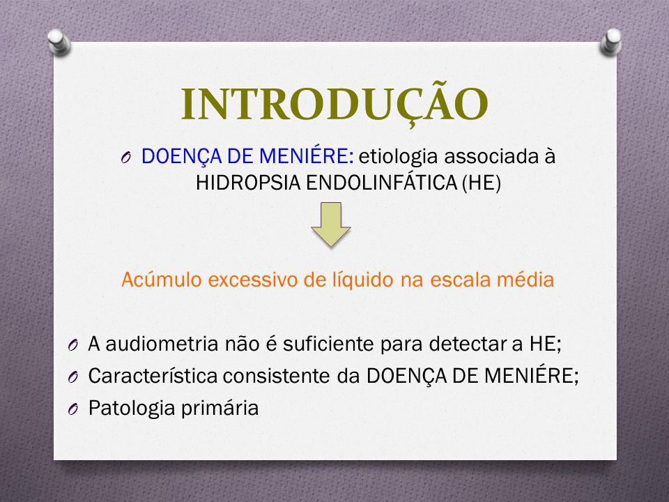 INTRODUÇÃO DOENÇA DE MENIÉRE: etiologia associada à HIDROPSIA ENDOLINFÁTICA (HE) Acúmulo excessivo de líquido na escala média.