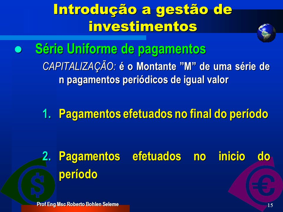 Introdução a gestão de investimentos