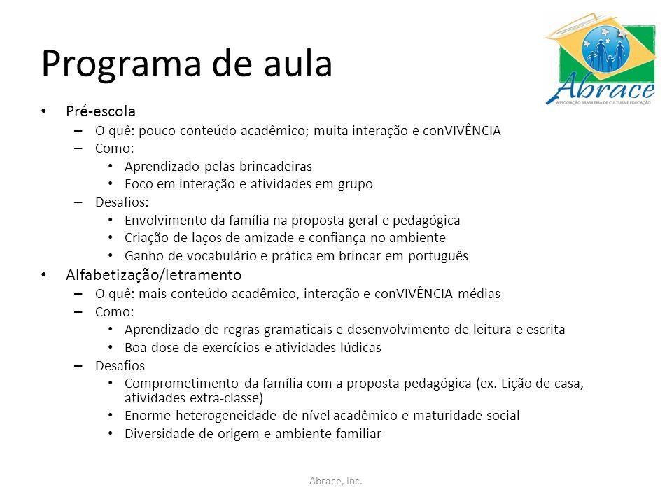 Programa de aula Pré-escola Alfabetização/letramento