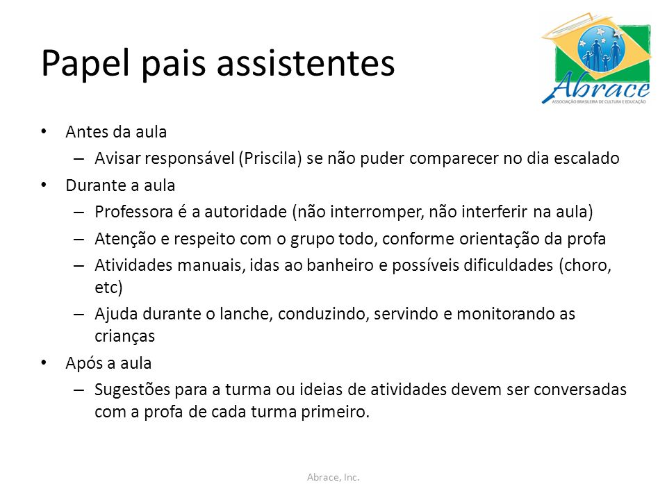 Papel pais assistentes
