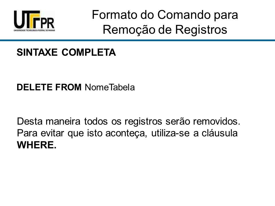Formato do Comando para Remoção de Registros
