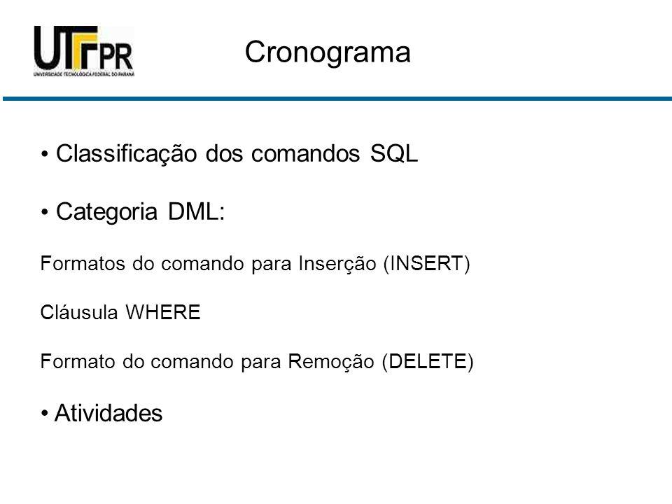 Cronograma Classificação dos comandos SQL Categoria DML: Atividades