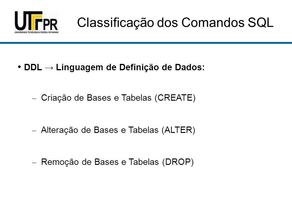 Classificação dos Comandos SQL
