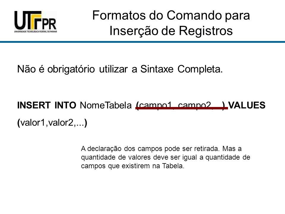 Formatos do Comando para Inserção de Registros