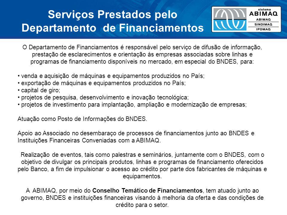 Serviços Prestados pelo Departamento de Financiamentos