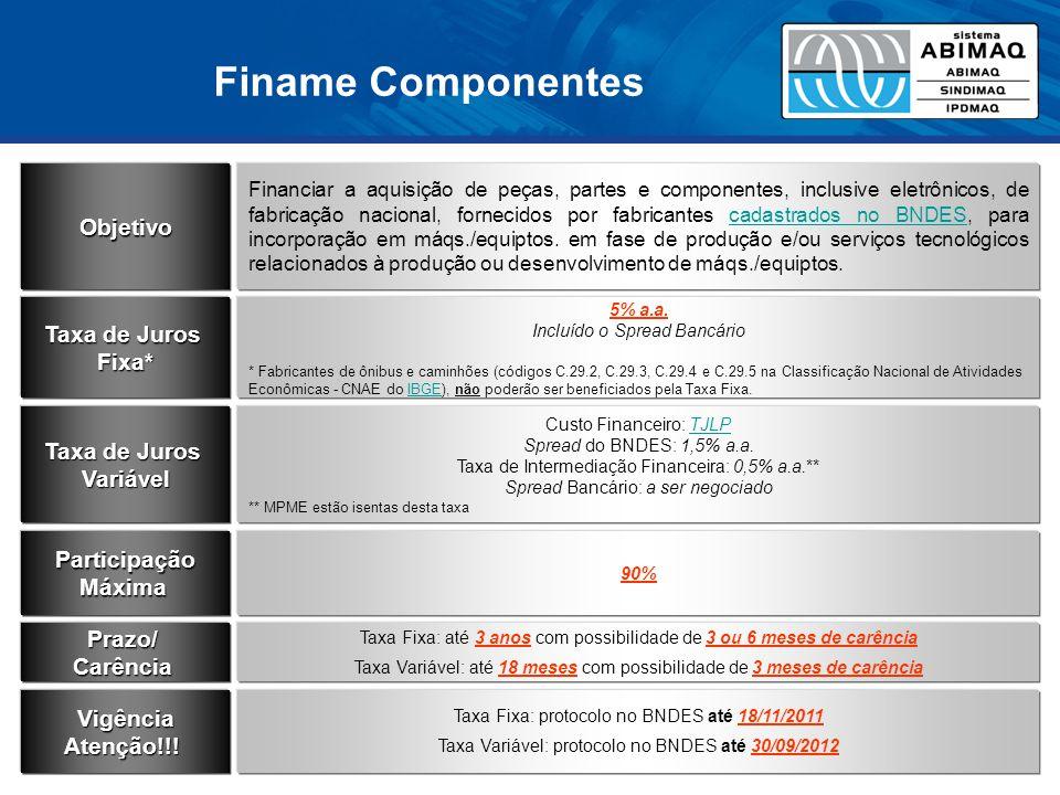 Finame Componentes Objetivo Taxa de Juros Fixa* Taxa de Juros Variável