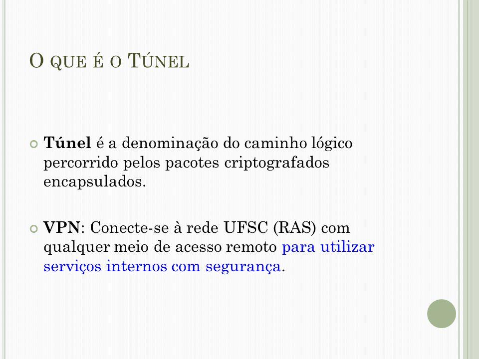 O que é o Túnel Túnel é a denominação do caminho lógico percorrido pelos pacotes criptografados encapsulados.