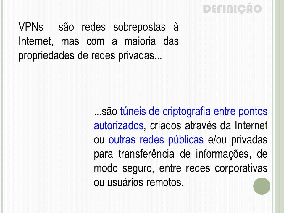 DEFINIÇÃO VPNs são redes sobrepostas à Internet, mas com a maioria das propriedades de redes privadas...