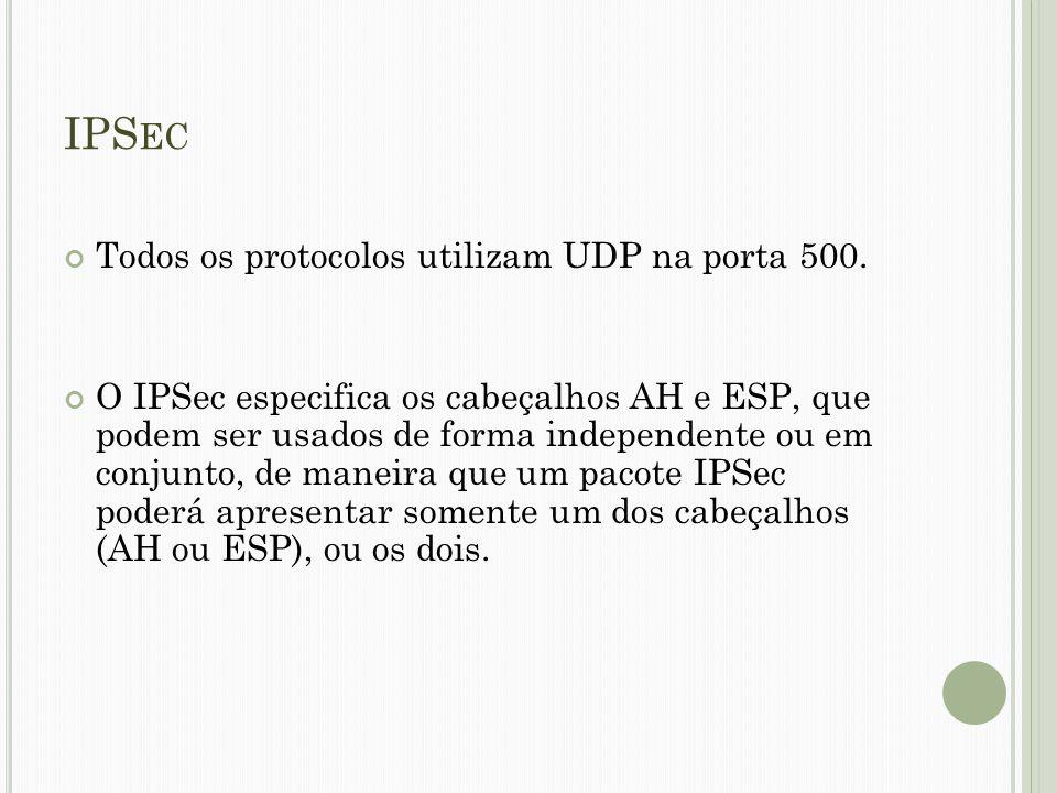 IPSec Todos os protocolos utilizam UDP na porta 500.