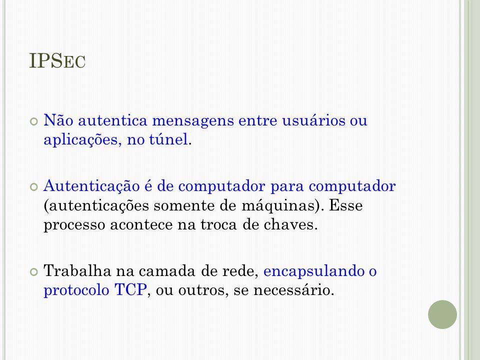 IPSec Não autentica mensagens entre usuários ou aplicações, no túnel.