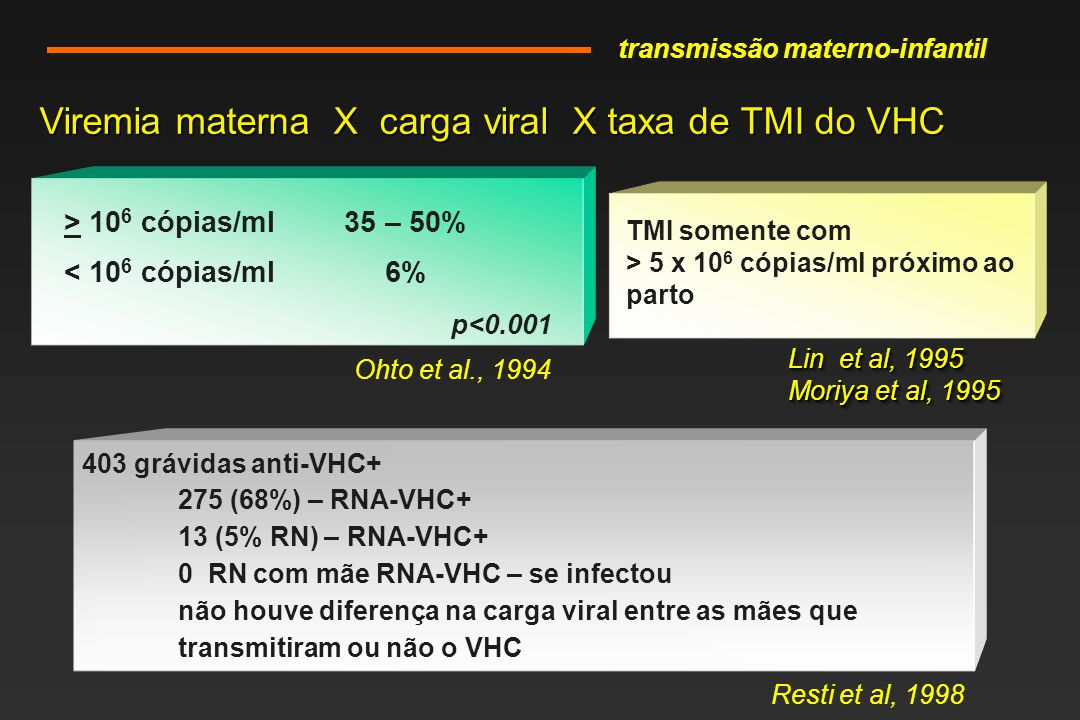 Viremia materna X carga viral X taxa de TMI do VHC