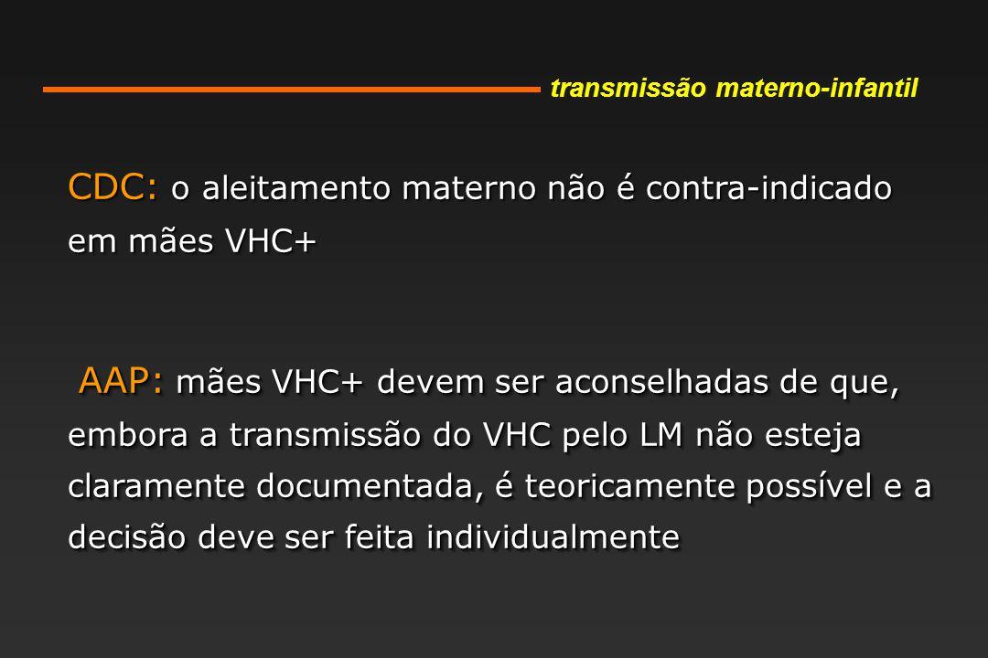 CDC: o aleitamento materno não é contra-indicado em mães VHC+