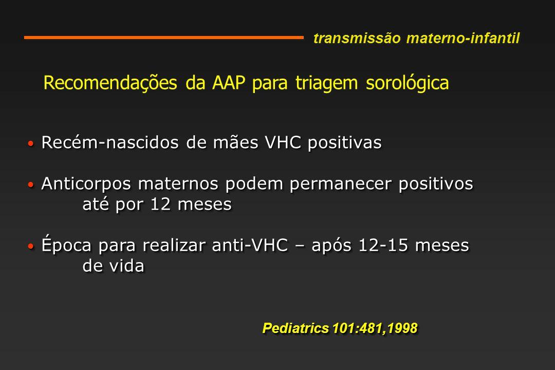 Recomendações da AAP para triagem sorológica