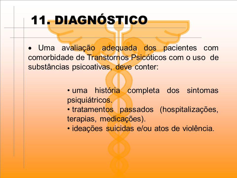 11. DIAGNÓSTICO · Uma avaliação adequada dos pacientes com comorbidade de Transtornos Psicóticos com o uso de substâncias psicoativas, deve conter: