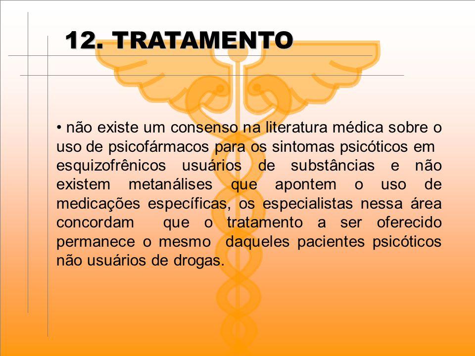 12. TRATAMENTO não existe um consenso na literatura médica sobre o uso de psicofármacos para os sintomas psicóticos em.