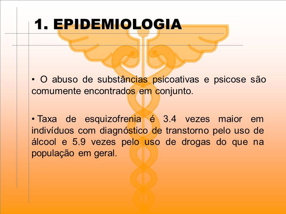 1. EPIDEMIOLOGIA O abuso de substâncias psicoativas e psicose são comumente encontrados em conjunto.