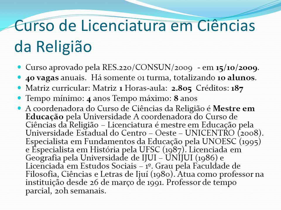 Curso de Licenciatura em Ciências da Religião