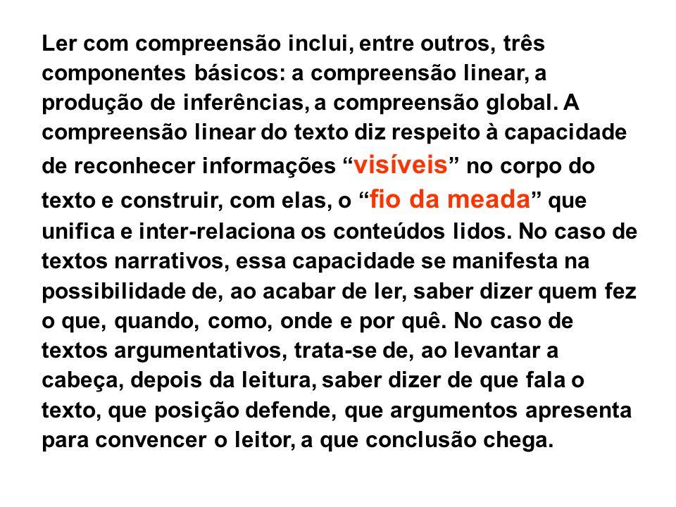 Ler com compreensão inclui, entre outros, três componentes básicos: a compreensão linear, a produção de inferências, a compreensão global.