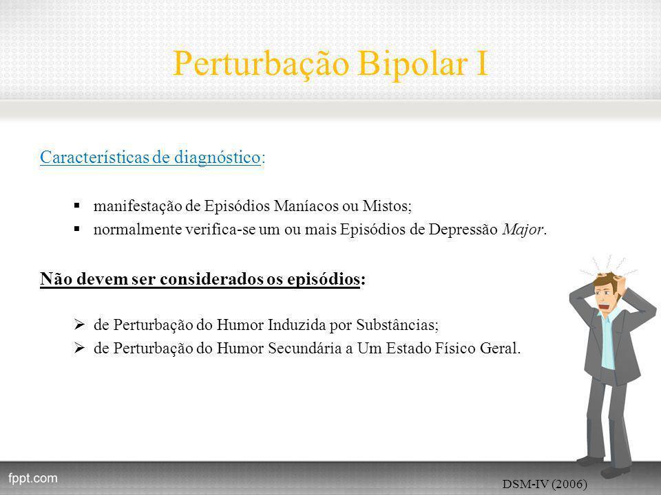 Perturbação Bipolar I Características de diagnóstico: