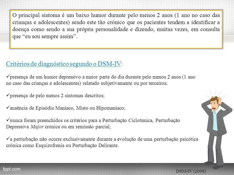 Critérios de diagnóstico segundo o DSM-IV: