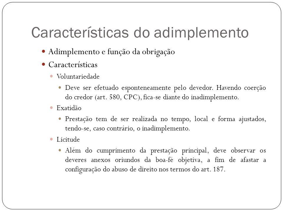Características do adimplemento