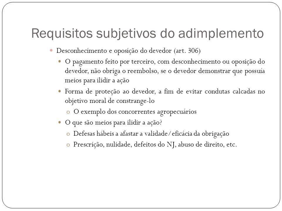 Requisitos subjetivos do adimplemento