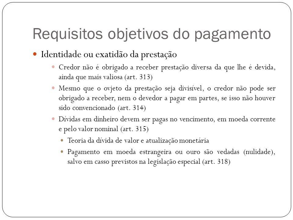 Requisitos objetivos do pagamento