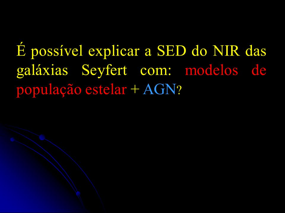 É possível explicar a SED do NIR das galáxias Seyfert com: modelos de população estelar + AGN